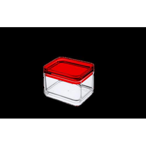 Micro Organizador - MOD 7,3 X 5,5 X 5,5 Cm Cristal com Vermelho Coza
