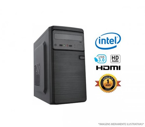 Microcomputador Intel Core I3-8100 - 4GB RAM, HD 500GB