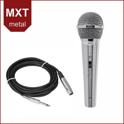 Microfone Dinâmico de Mão Profissional Metal Prata MXT M-1138