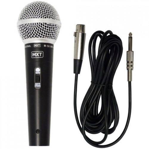 Microfone Dinâmico Profissional M-58 C/ Cabo 3 Metros - Mxt