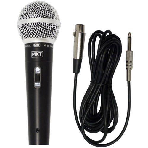 Microfone Dinâmico Profissional Mxt M-58 Cabo 3 Metros