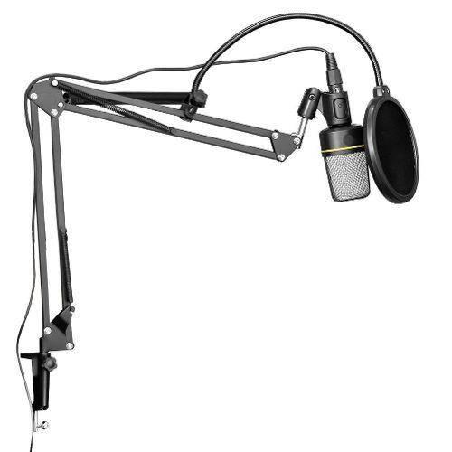 Microfone Estúdio Sf920 + Pop Filter + Pedestal Suporte Braço Articulado