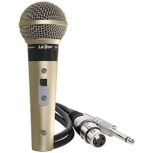 Microfone Leson Sm58 P4 Profissional Acompanha Cabo de 5 Metros Champanhe