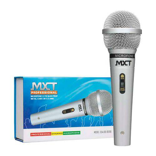 Microfone Mxt M-1138 Prata Metal com Fio 3 Metros 541020