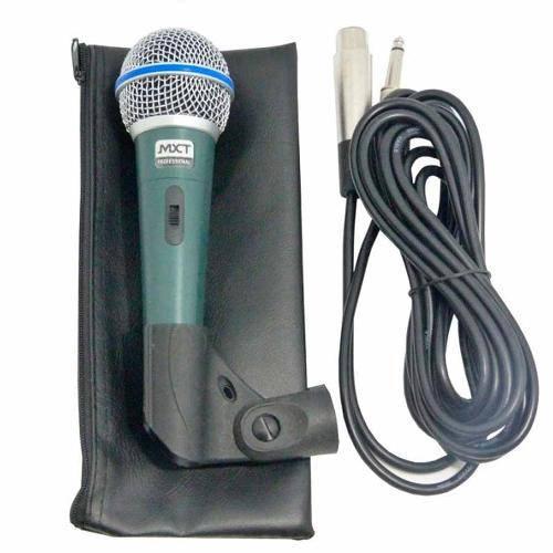 Microfone Profissional em Metal Prata Cabo 3 Metros M-1138 Mxt