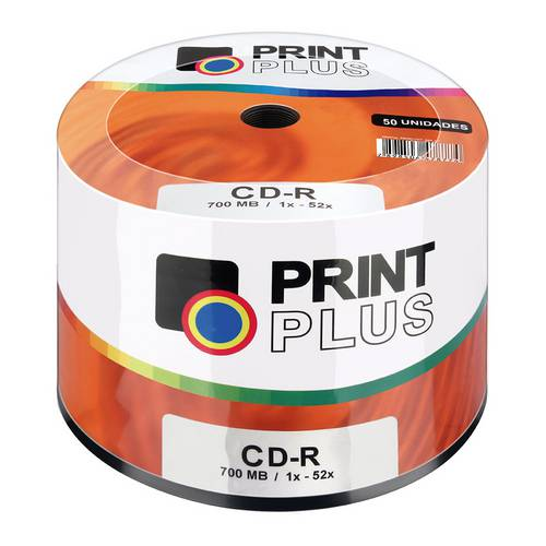 Midia Cd-R Multilaser Cd051pp Print Plus Imprimivel 700 Mb 52x Shirink com 50 Unidades