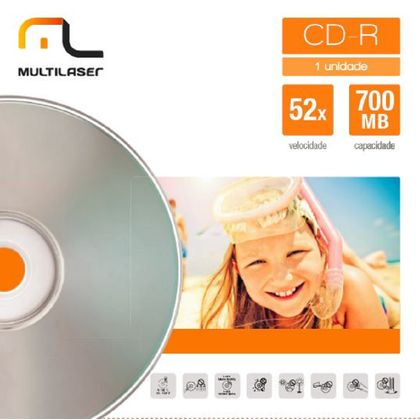 Midia CD-R Velocidade 52X Unitario em Envelope Multilaser CD006 CD006
