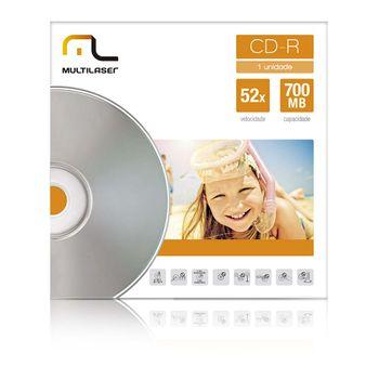 Mídia CD-R Velocidade 52X Unitário em Envelope Multilaser CD006 CD006