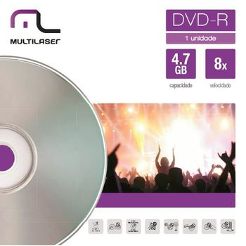 Mídia DVD-R Velocidade 16X Unitário em Envelope Multilaser DV018 DV018