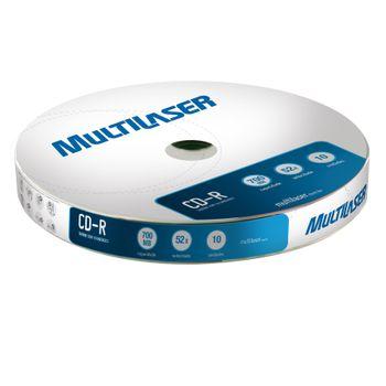 Mídia Multilaser CD-R Vel. 52X - 10 Un. Shrink - CD027 CD027