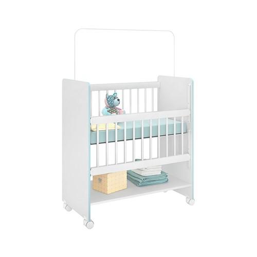 Mini Berço Rubi Branco e Azul - Wood Prime PL 14211