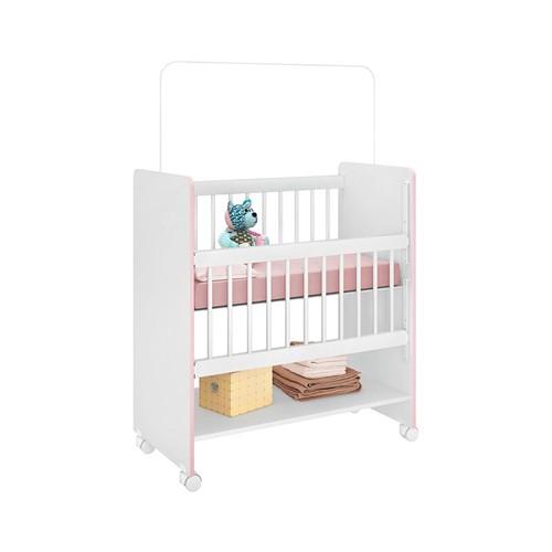 Mini Berço Rubi Branco e Rosa - Wood Prime PL 14212