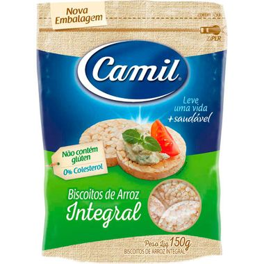 Mini Biscoito Integral de Arroz Camil 150g Cx. C/ 12 Un.