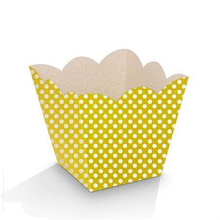 Mini Cachepot Amarelo Poá Branco - 10 Unidades