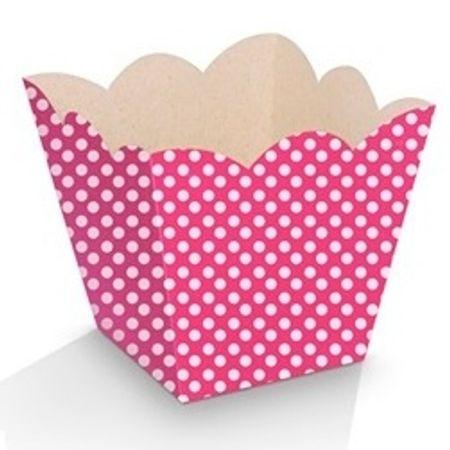 Mini Cachepot Pink Poá Branco - 10 Unidades