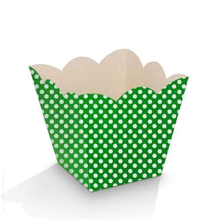 Mini Cachepot Verde Poá Branco - 10 Unidades