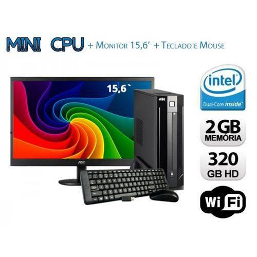 Mini Cpu Dual Core 2GB RAM, HD 320GB, Wifi C/ Monitor , Teclado e Mouse