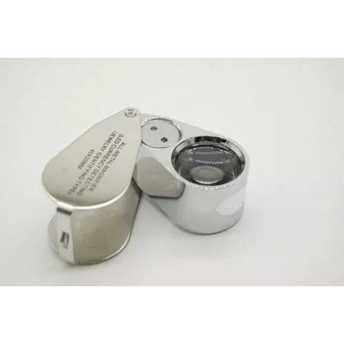 Mini Lupa Mão Led Duplo Zoom 40x 25mm Articulada Joalheiro