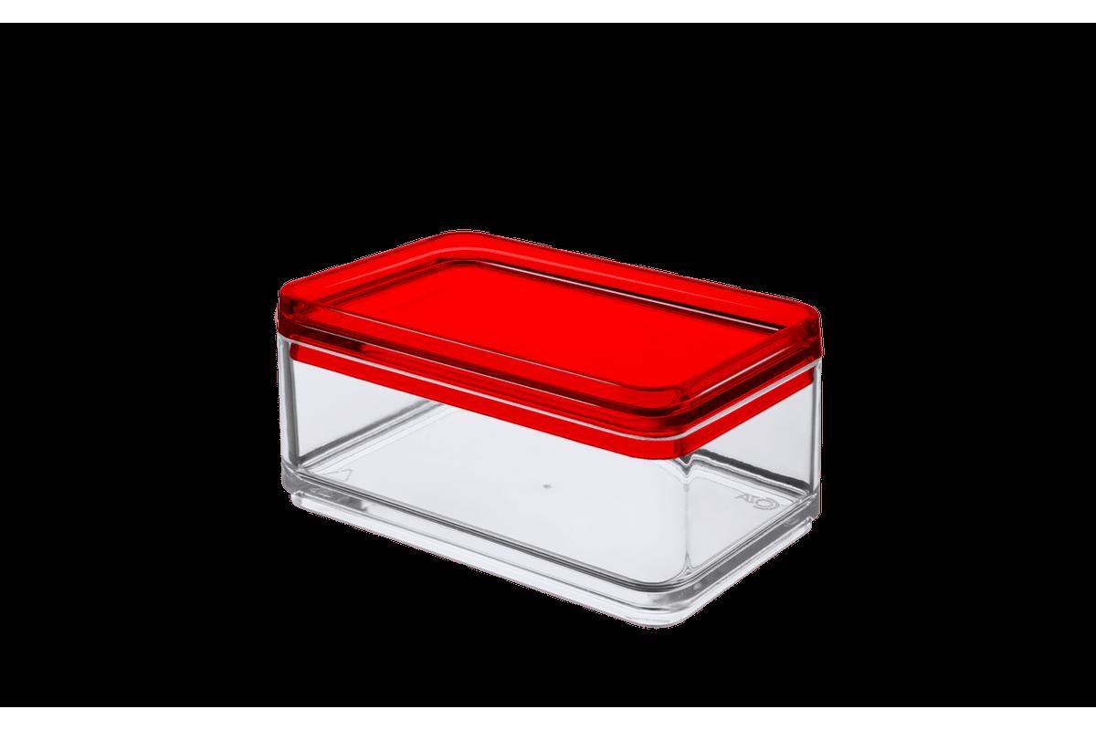 Mini Organizador - MOD 11 X 7,3 X 5,5 Cm Cristal com Vermelho Coza