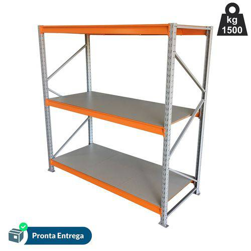 Mini Porta Pallet - Inicial - 2,00 X 1,80 X 0,80 com 3 Longarinas - com Prateleira