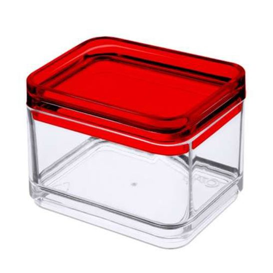 Mini Pote Multiuso Mod 100 Ml Transparente e Vermelho Coza
