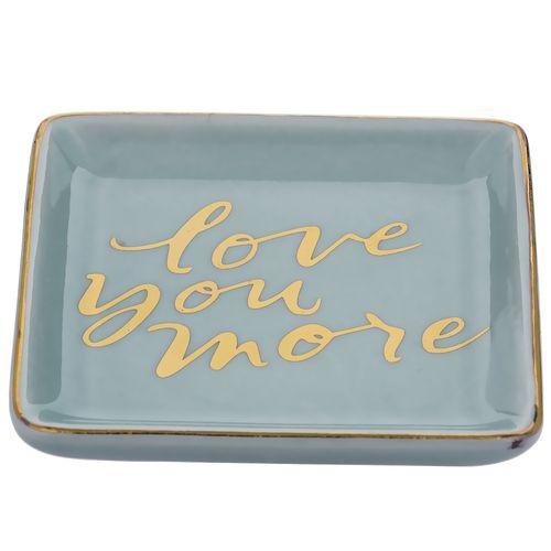 Mini Prato em Cerâmica Azul Love You More