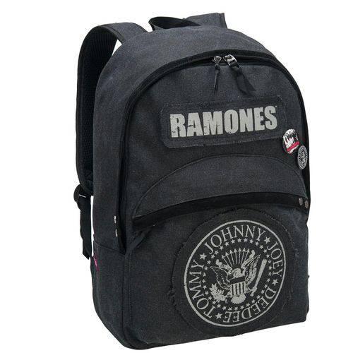 Mochila Banda Ramones com Bolsos Frontal e Laterais, Alça Superior e Traseira, Preta - Pacific
