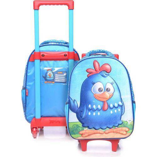 Mochila de Rodinhas Infantil Xeryus 14 3d Azul Galinha Pintadinha