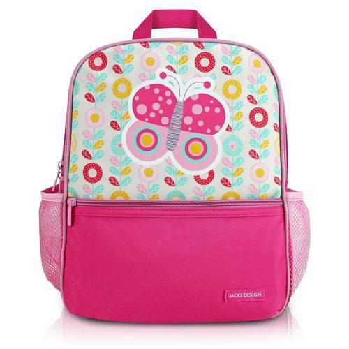 Mochila Escolar Infantil Criança Bolsos Laterais Menina Jacki Design Pink Borboleta