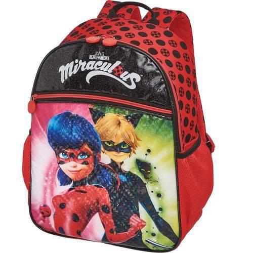 Mochila Escolar Ladybug Miraculous Duo Grande 3 Bolsos Pacific
