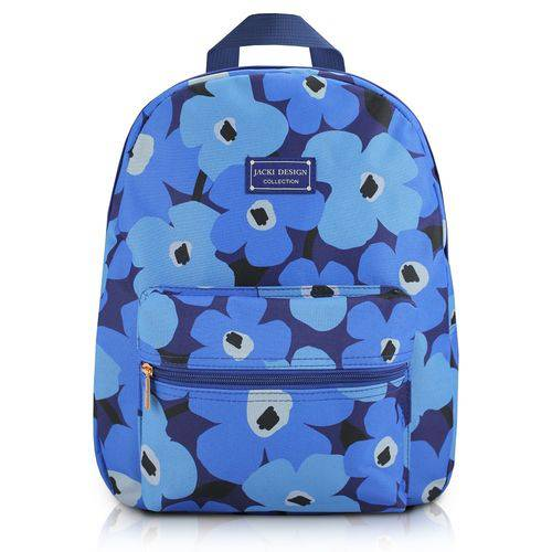 Mochila Escolar Passeio com Bolso, Zíper e Alça Acochoada Estampada Flores Jacki Design Azul