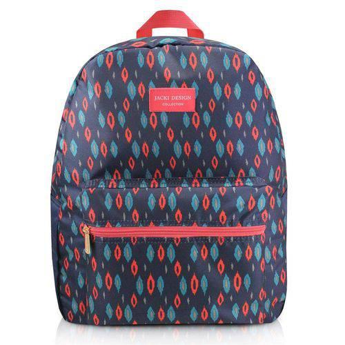 Mochila Feminina Escolar Passeio com Bolsinho e Ziper Jacki Design Azul