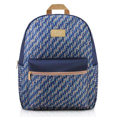 Mochila Feminina Escolar Passeio com Bolsinho e Ziper Zig Zag Jacki Design Azul
