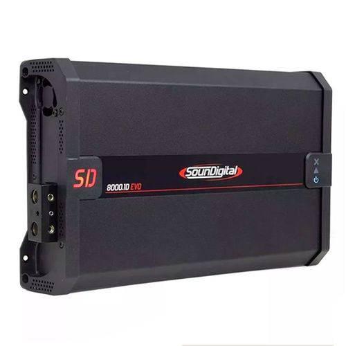 Módulo Amplificador Digital SounDigital SD8000.1D EVO 2.1 Black 1 Canal 8000 Watts RMS 1 Ohms