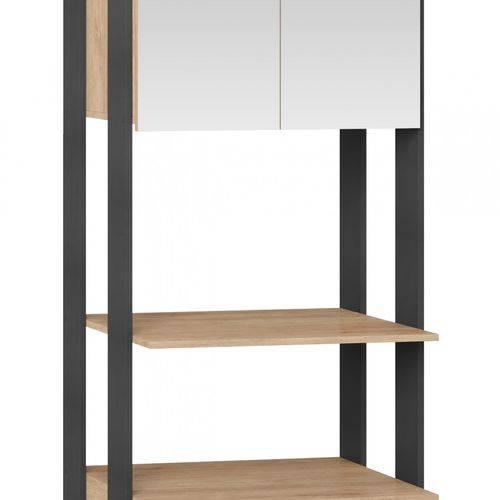 Módulo Closet com Espelho 2 Portas Clothes Be Mobiliário Carvalho Mel/Espresso