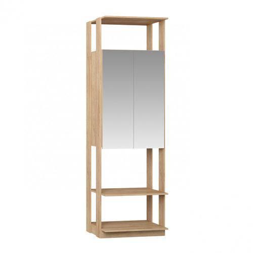 Módulo Closet com Espelho 2 Portas Clothes Be Mobiliário Carvalho Mel
