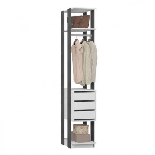 Módulo Closet 3 Gavetas e Cabideiro Clothes 410 Be Mobiliário Branco/Espresso