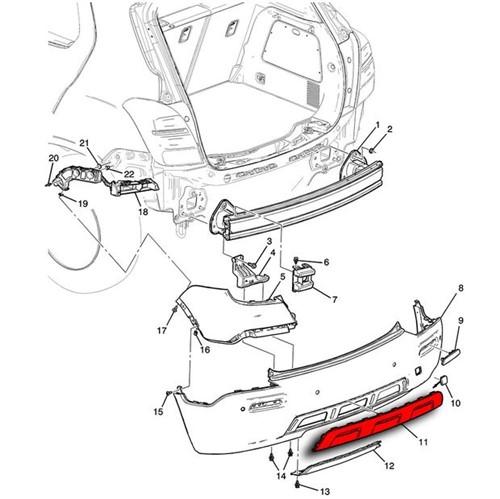Moldura Aplique do Parachoque Traseiro 25980562 Tracker