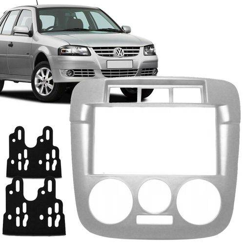 Moldura Auto Rádio 2 Din VW Gol G4/Saveiro Prata - Fiamon