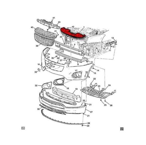 Moldura Cobertura Superior do Radiador no Parachoque Dianteiro 95381748 Tracker