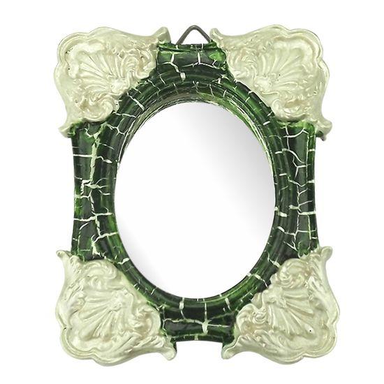 Moldura Colonial Cantoneira e Oval com Espelho Verde e Branco Craquelê 10x13cm - Resina