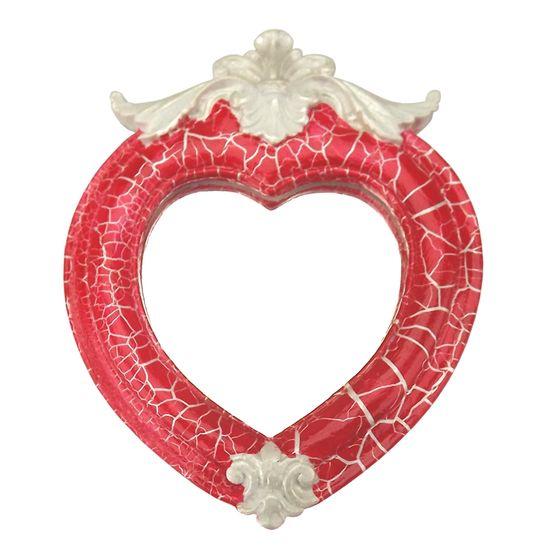 Moldura Coração Colonial Cantoneira com Espelho Vermelho e Branco Craquelê 13,5x9,2cm - Resina