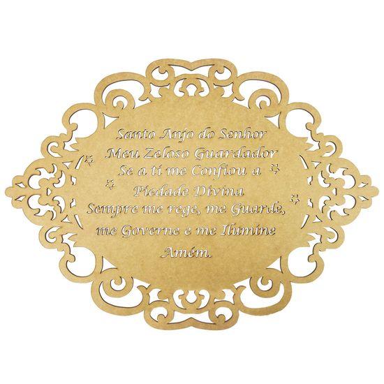 Moldura em MDF Oval Oração Santo Anjo do Senhor 50x36cm Portuguesa - Palácio da Arte