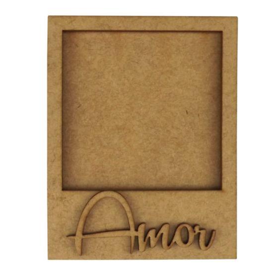 Moldura Foto Polaroid + Aplique Amor em MDF 11x8,6cm - Palácio da Arte