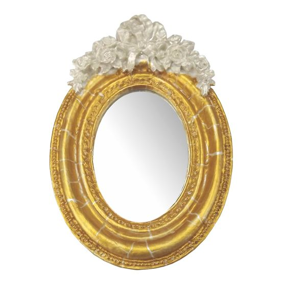 Moldura Provençal Oval Rosas com Laço com Espelho Dourado e Branco Craquelê 9,5x14cm - Resina