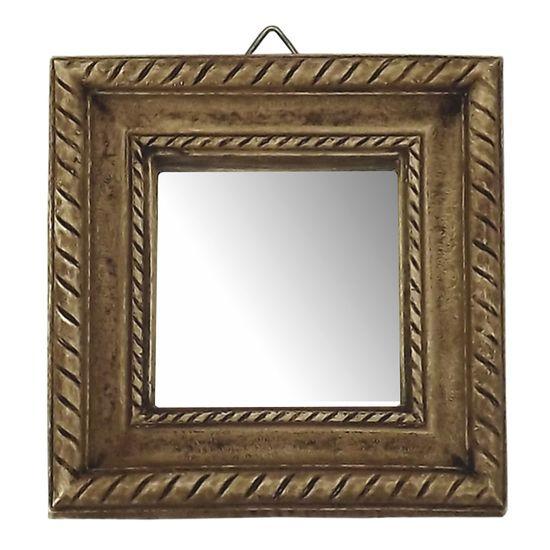 Moldura Quadrada e Borda Frisada com Espelho Betume 11,5x11,2cm - Resina