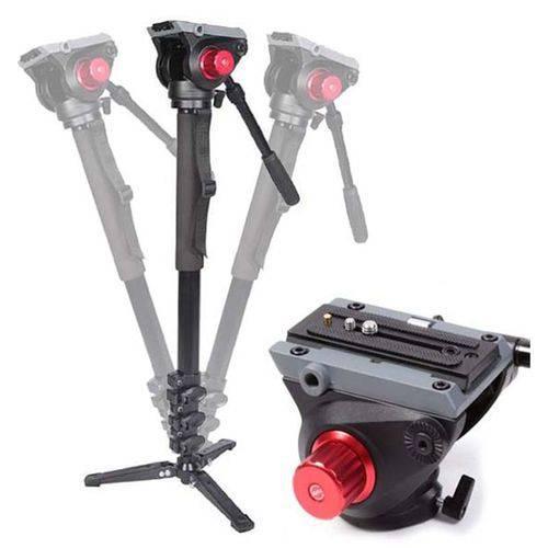 Monopé com Cabeça Fluida Câmera Dslr e Vídeo - Leadwin Mka-3424 - 1,88m