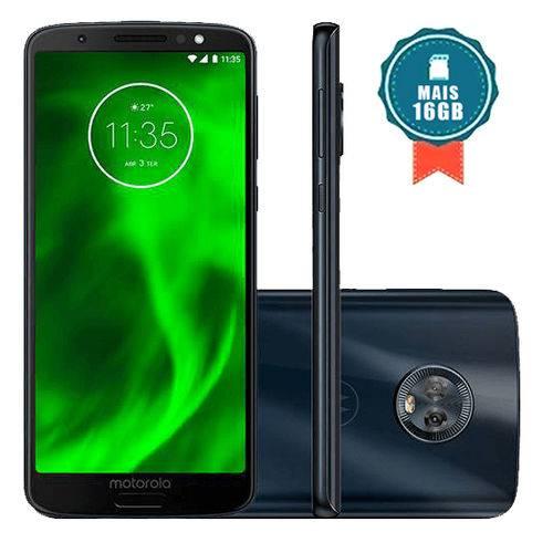 """Motorola Moto G6 32GB Tela 5.7"""" 4G Dual Cam 12 + 5MP Índigo + Cartão SD 16GB"""