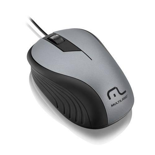 Mouse Emborrachado Cinza e Preto Multilaser - Mo225