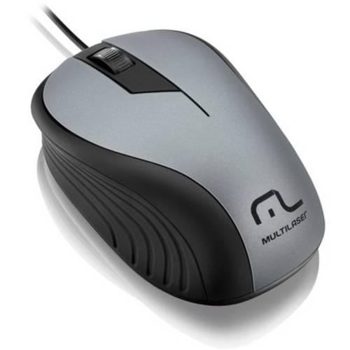 Mouse Emborrachado Multilaser Cinza e Preto - MO225